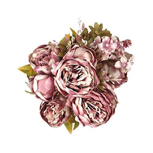 Shengyuan Artificial Flowers Fake Silk Peony Flower Bouquet Floral Plants Decor for Home Garden Wedding Party Decor Decoration,Cameo Brown -