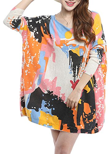 Abstract Print Dress (ELLAZHU Women Baggy Abstract Face Print Knit Pullover Dress Onesize SZ17 Beige)