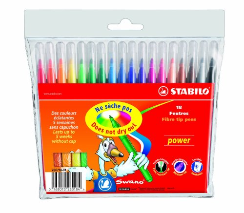Stabilo Power Wallet Coloring Pens , Set of 18 , Multicolored