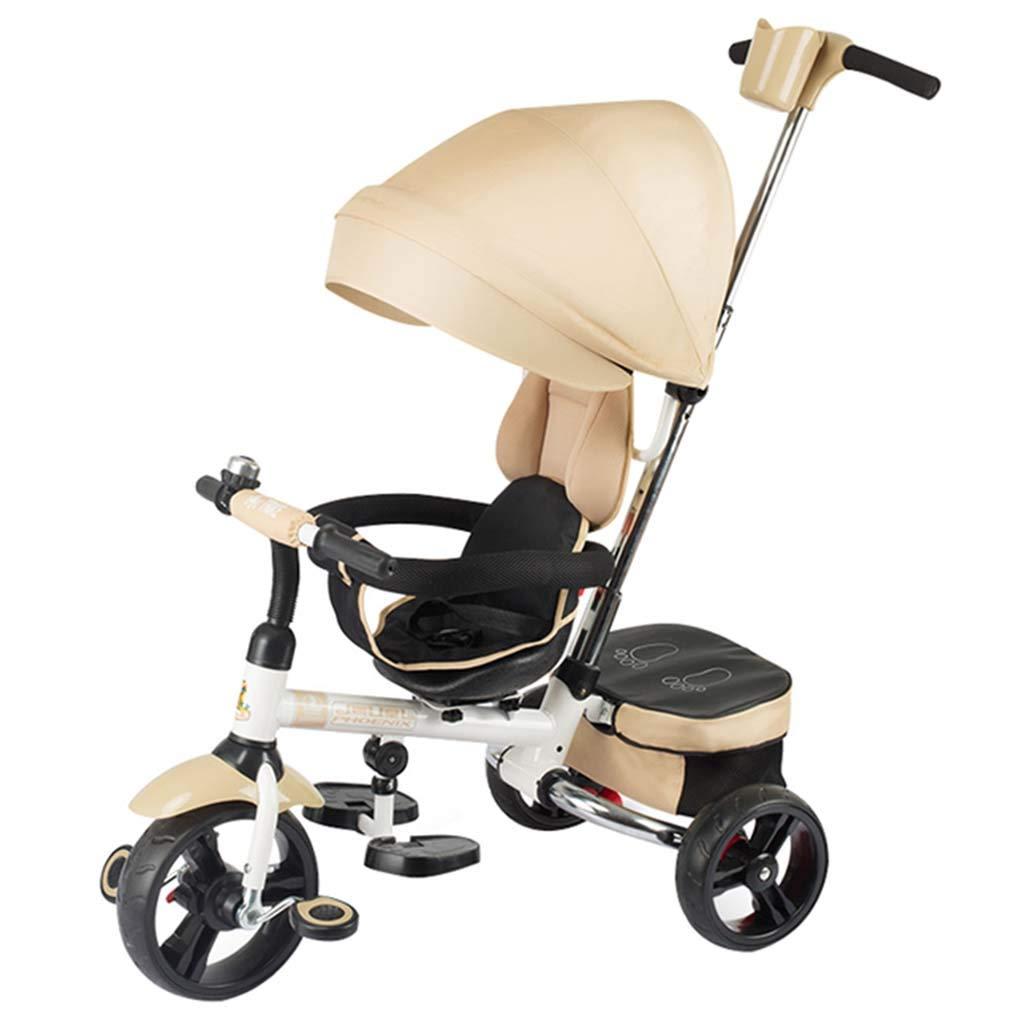 1-6歳の赤ちゃんの乗馬のためのベビー三輪車トロリー自転車1つのボタン折り畳み式ポータブルトロリー  Khaki B07TDXTHFT