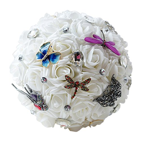 17Rainbow Wedding Bridal Bouquet Elegant Artificial Roses Rhinestone Crystal Butterfly Dragonfly Bride Bridesmaids Holding Flowers Bouquets (D534)