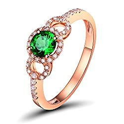 Rose Gold Round Tsavorite Diamond Ring