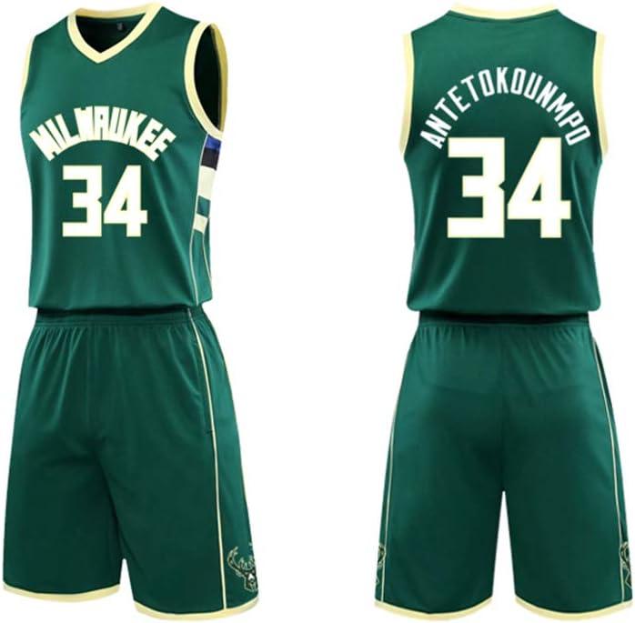 free-JJ Milwaukee Bucks 34 Basketball-Trikot Basketball Trikot-Oberteil Einschlie/ßlich Shorts Giannis Antetokounmpo Sommersport-Basketball-Shorts
