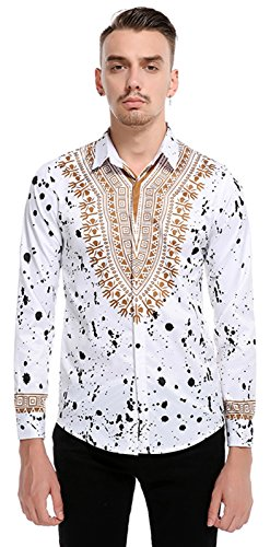 Whatlees Mens Luxury Gold Casual Slim Fit Stylish Dress Shirts Long Sleeve African Dashiki Floral Pattern Print B700-White-L