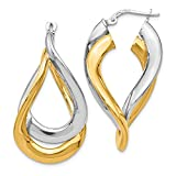 Sterling Silver Gold-Flashed Polished Twisted Hoop Earrings