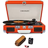Crosley Cruiser Portable 3-Speed Turntable with Bluetooth Orange (CR8005D-OR) with RCA D4+ Vinyl Record Cleaning Fluid System
