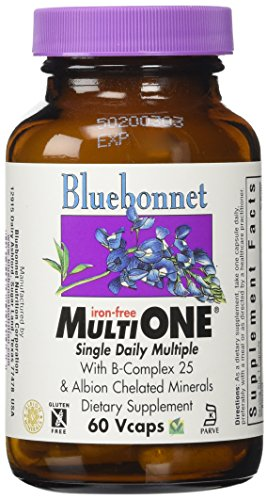 Bluebonnet Multi One Iron Free Vegetable Capsules, 60 Count (Iron Free 60 Capsules)