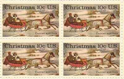 Christmas Currier And Ives Set Of 4 X 10 Cent Us Postage Stamps New Scot 1551 By Post Office