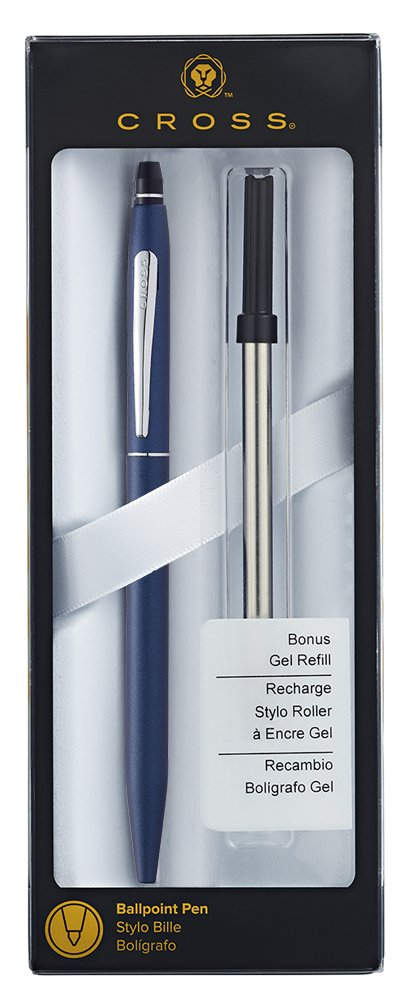 Cross Click Blue Lacquer Ballpoint Pen with Chrome Appointments and Bonus Slim Gel Refill