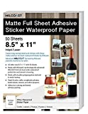 "Milcoast Matte Full Sheet 8.5 x 11"" Adhesive Tear Resistant Waterproof Photo Craft Paper – For Inkjet / Laser Printers – For Stickers, Labels, Scrapbooks, Bottles, Arts, Crafts (50 Sheets)"
