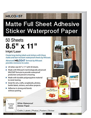 "- Milcoast Matte Full Sheet 8.5 x 11"" Adhesive Tear Resistant Waterproof Photo Craft Paper - for Inkjet/Laser Printers - for Stickers, Labels, Scrapbooks, Bottles, Arts, Crafts (50 Sheets)"