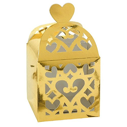 (Amscan Gold Lantern Favor Boxes   Wedding and Engagement Party )