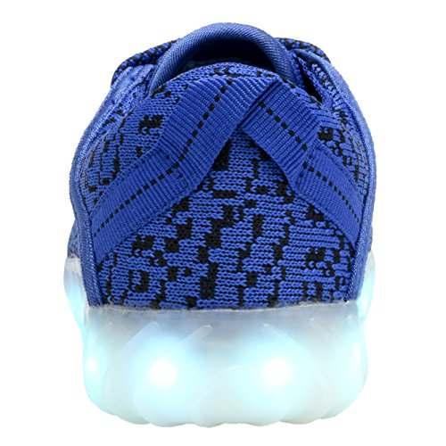 COODO Männer Frauen Kinder LED Schuhe 7-Color-Lights USB Lade leuchten Sneakers Blau