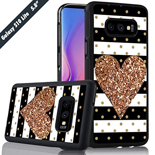 (White Black Stripes Golden Heart KASOS Phone Case for Samsung Galaxy S10e Cover Shockproof Anti-Skid Tired Tread Protective Case for Samsung Galaxy S10e)