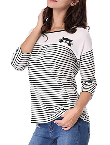 (Allegra K Women's Color Block Paneled Piped Cat Prints Striped Tee XS White)