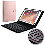 COOPER BACKLIGHT EXECUTIVE Keyboard case for 9'', 10'', 10.1'' inch tablets | 2-in-1 Bluetooth Wireless Backlit Keyboard & Leather Folio Cover | 7 Color LED Keys, 100HR Battery, 14 Hotkeys (Rose Gold)