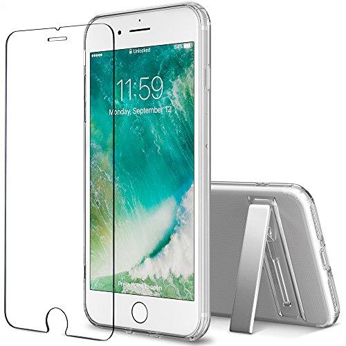 iPhone 7 Plus case, FlexGear [Kickstand edition] Clear TPU Case + Glass Screen Protector (Kickstand Case Screen Protector)