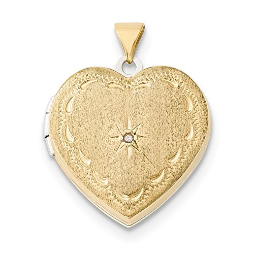 14k Two Tone Yellow Gold 21mm Reversible Diamond Heart Photo Pendant Charm Locket Chain Necklace That Holds Pictures Fine Jewelry Gifts For Women For Her