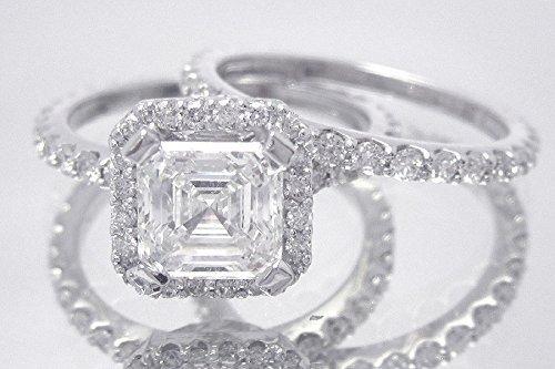 14k white gold asscher cut simulated diamond engagement ring band, bridal set, wedding set, anniversary, halo, prong set 2.35ct