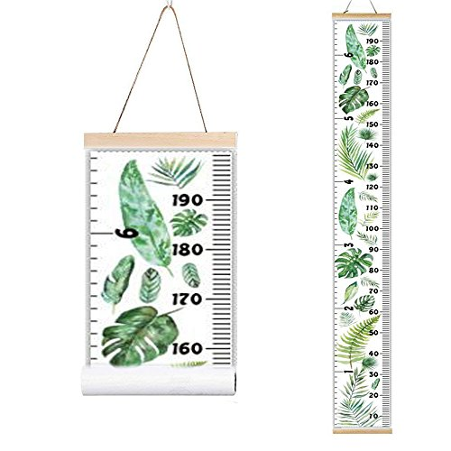 Miaro Kids Growth Chart, Wood Frame Fabric Canvas Height Measurement Ruler from Baby to Adult for Child's Room Decoration 7.9 x 79in (7.9 x 79in, Monstera Deliciosa)