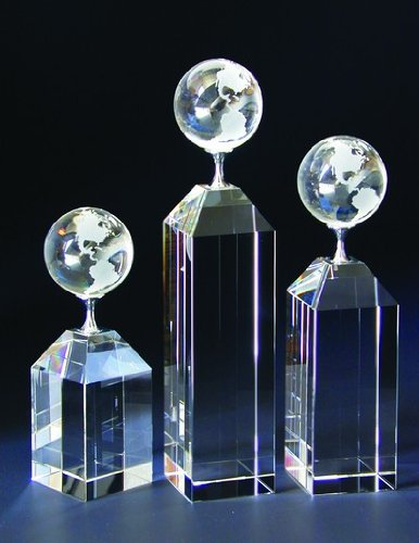 Empire Tipped Globe Tower Crystal Award - Large ()