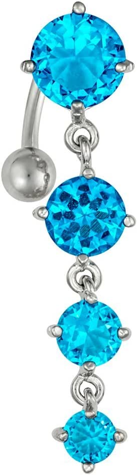 Sexy Reverse Mount Dangle Belly Button Ring with Cascade of Aqua Blue Crystal Gems