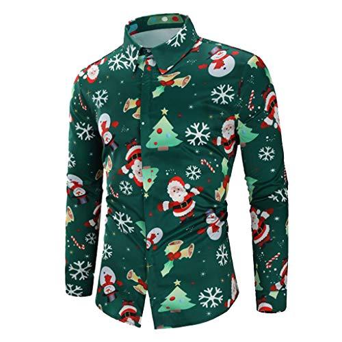 (Nevera Men Casual Snowflakes Santa Candy Printed Christmas Shirt Top Blouse)