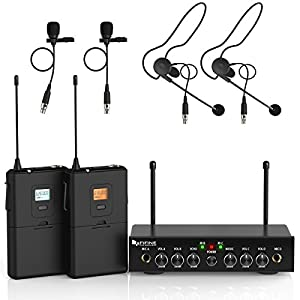 Wireless Microphone System,Fifine UHF Dual Channel Wireless Microphone Set with 2 Headsets & 2 Lapel Lavalier Microphone.Ideal for Church, Weddings,Presentations,School Play.(K038) from Fifine