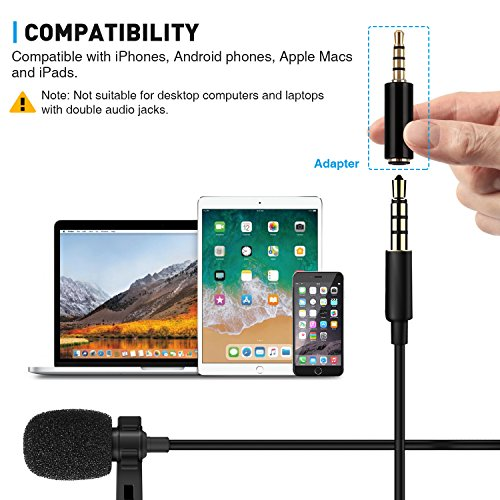 TONOR Lavalier Microphone, Lapel Interview Omnidirectional Condenser Shirt Mic with 2m Extended Wire for iPhone, Android, Other Smartphones and Camera, Perfect for Interview/Youtube/Video Recording by TONOR (Image #3)
