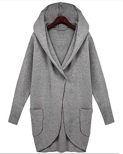 à Femme grise capuche Veste Zhuikun Coats Trench Manteau long wPqwxASY