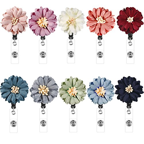 Boao Retractable Badge Holder with Alligator Clip, Badge Clips ID Badge Reel Clip on Card Holders, 10 Pieces (Flower)