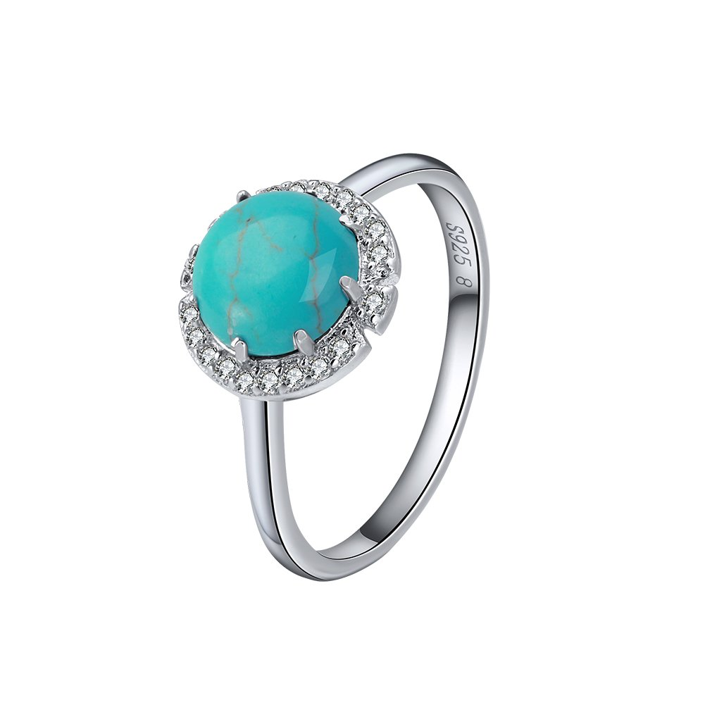 Rinntin Jewelry Sterling Silver Turquoise Rings for Women Size 8 Pave Setting AAA Cubic Zircon