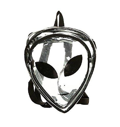 (Alien Cartoon Logo Women's Hologram PVC Transparent Backpack Purse Casual Travel Bag Shoulder Bag)