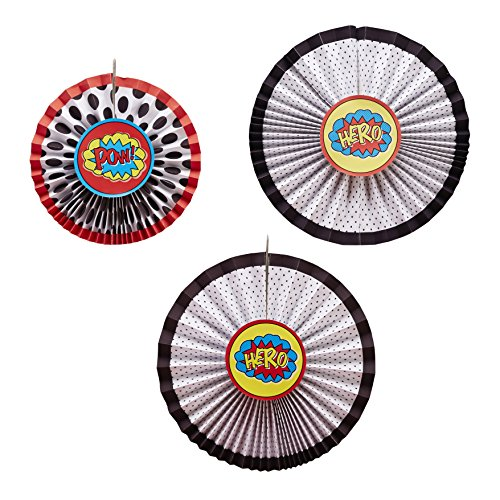 Ginger Ray Comic Superhero Pow Party Hanging Pinwheel Decoration Bunting (3 Pack), Mixed (Superhero Decorations)