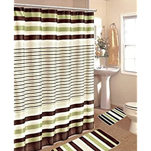 Gorgeous Home 15PC SAGE BROWN STRIPE BATHROOM BATH MATS SET RUG CARPET SHOWER CURTAIN HOOKS NON SLIP 2