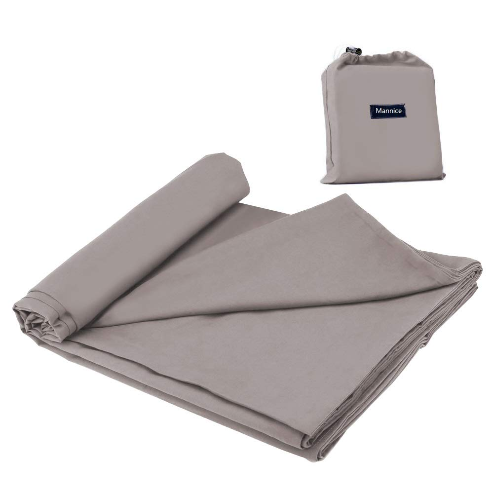Cotton Sleeping Bag Liner Travel and Camping Sheet Lightweight Compact Sleep Bag Sack Picnic (82.7 X 63 Inch, Khaki Grey) by Mannice