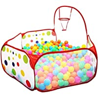ISusser Kids Ball Pit Ball Tent Toddler Ball Pit with Basketball Hoop for Toddlers 4 Ft/120CM (Balls not Included)