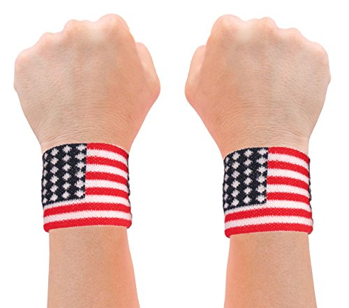 American Flag 2 Wrist Sweatbands USA Team Apparel Accessory Merica Sweatbands ()