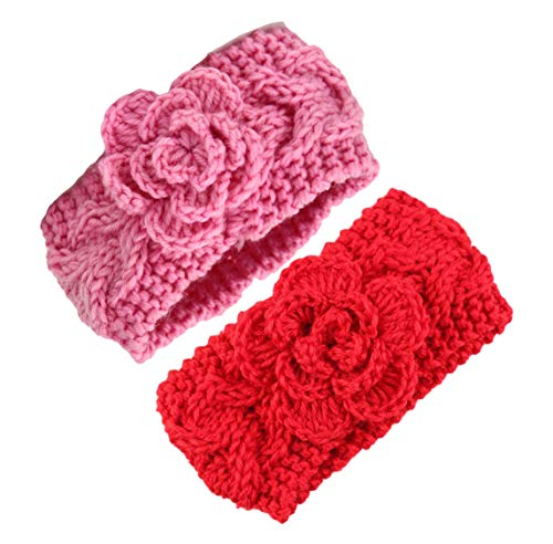 Baby Crochet Knitted with Flower Headband Braided Ear Warmer Hair Headwrap JA41 (Red -