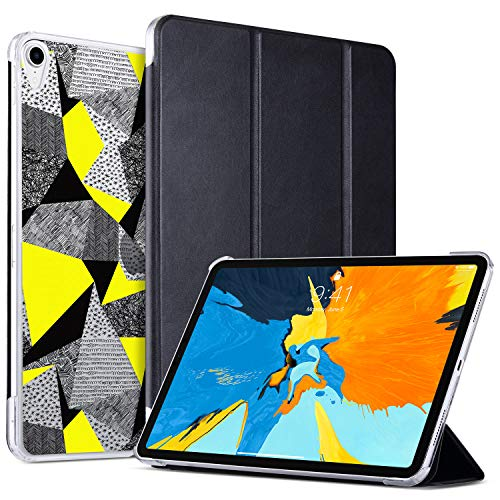 - ULAK Case for iPad Pro 11 Inch 2018, Slim Lightweight Trifold Stand Smart Cover with Auto Wake/Sleep, Hard Back Designed Cover for iPad Pro 11 (Support 2nd Gen iPad Pencil Charging), Black Doodles