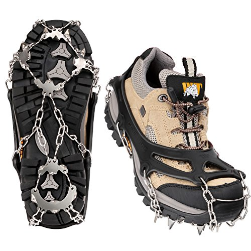 MoKo 19 Spikes Ice Crampon, Outdoor Footwear Traction Cleats Protect Safe Anti-slip Snow Grip for Walking, Hiking, Jogging, Trekking and Mountaineering - X-Large, Black (Footwear Traction)