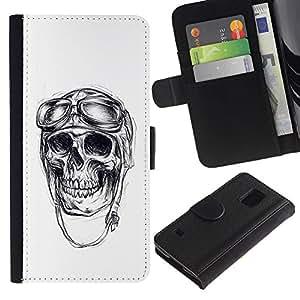 Stuss Case / Funda Carcasa PU de Cuero - El veterano piloto de guerra Cráneo Muerte Blanca - Samsung Galaxy S5 V SM-G900