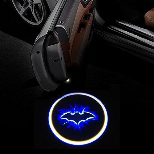 Bat Door Light, 2pcs Universal Wireless LED Car Door Welcome Light Courtesy Welcome Led Projector Logo Batman Lamp Battery Operated with Magnet Sensor By - Door Car Projector Batman