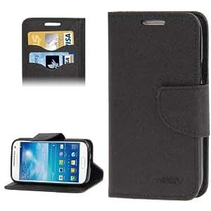 Cross Texture Leather Case Cover Funda con bolsillos interiores & Holder para Samsung Galaxy S4 mini i9190 (Black)