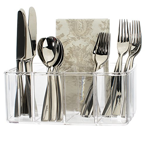 Clear Plastic Utensil and Condiment Caddy | 5 Compartments (Plastic Utensil Holder)