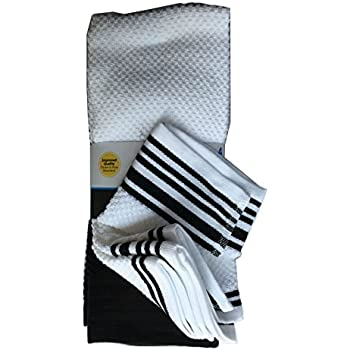 Beckon Bargains MAINSTAYS PACK OF 4 KITCHEN TOWELS TERRY COTTON 2 WHITE WITH BLACK STRIPES 2