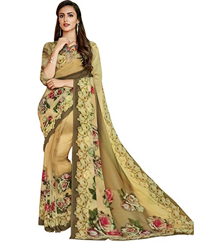 Indian Ethnicwear Bollywood Pakistani Faux Georgette Beige Coloured Printed Saree by Maahir Garments