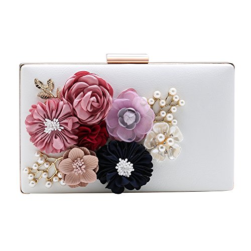 BABEYOND Flower Clutch Purse Wallet Flower Clutch Bags with Strap Floral Clutch Handbag with Pearl for Evening Party Wedding Hard Case (White)