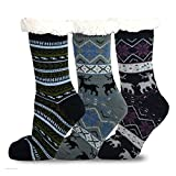 Teehee Womens Soft Premium Thermal Double Layer Crew Socks 3-Pack (Deer)