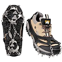MoKo 19 Spikes Ice Crampon, Outdoor Footwear Traction Cleats Protect Safe Anti-slip Snow Grip for Walking, Hiking, Jogging, Trekking and Mountaineering